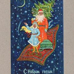 Открытки - Открытка СССР Новый год 1968 Бокарев чистая Палех Дед Мороз ларец елка космос, 0