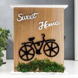 "Настенные ключницы и шкафчики - Ключница дерево 6 крючков ""Велосипед на траве"" 25,7х6х19 см, 0"