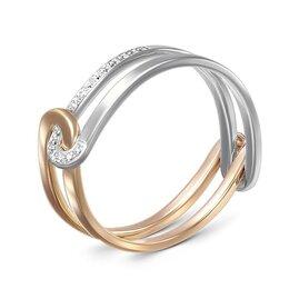 Кольца и перстни - Кольцо с 17 фианитами из комбинированного золота, 0