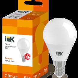 Лампочки - Лампа светодиодная G45 шар 7Вт 230В 3000К E14, 0