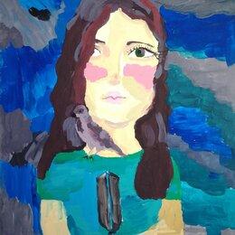 Картины, постеры, гобелены, панно - Автопортрет с воробьем, 0