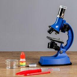 Микроскопы - Микроскоп, кратность увеличения 600х, 300х, 100х, с подсветкой, 2АА, синий, 0