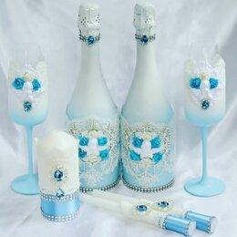 Украшения и бутафория - Свадебные наборы бутылки бокалы и свечи, 0