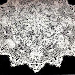 Скатерти и салфетки - Скатерть, салфетка, вязанная, белая, 128см, 0