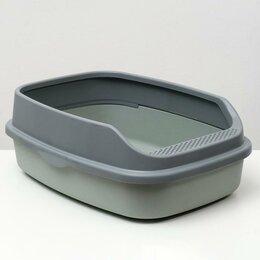 Туалеты и аксессуары  - Туалет Айша XL с бортом 64 х 44 х 21 см серый FIX, 0