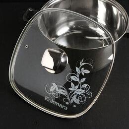 Крышки и колпаки - Крышка для сковороды и кастрюли стеклянная, квадратная, 28 см, с ободом и руч..., 0