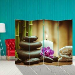 """Ширмы - Ширма """"Орхидея. Камни"""", 200 × 160 см, 0"""