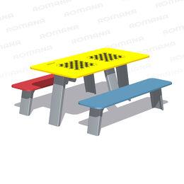 Столы - Садово-парковая мебель ROMANA Стол со скамьями детский с рисунком «Шахматы» R..., 0