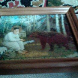 Картины, постеры, гобелены, панно - Серафим саровский кормит медведя хлебом иконы в высоком качестве, 0