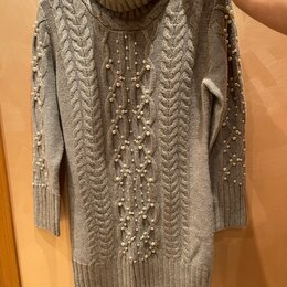 Свитеры и кардиганы - вязаный свитер туника платье , 0