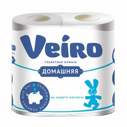 Туалетная бумага и полотенца - Бумага туалетная Veiro Домашняя, белая, спайк.4шт, 2-х слойн., 0
