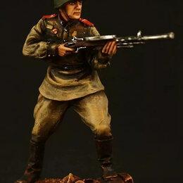 Фигурки и наборы - Автоматчик красной армии 1943-45 гг оловянная миниатюра, 0