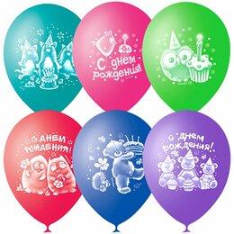 """Украшения и бутафория - Воздушные шары 50шт М10/25см """"Зверушки-игрушки, с ДР, пастель+декор, 0"""