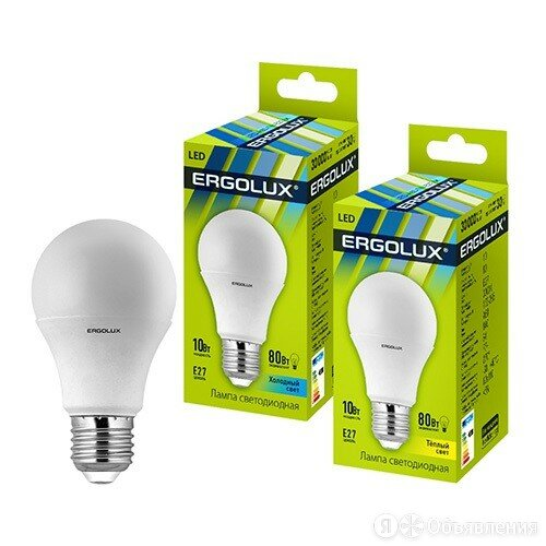 Лампа светодиодная Ergolux ЛОН A60 E27 10W(880lm 270°) 4500K 4K матовая 110x6... по цене 83₽ - Лампочки, фото 0