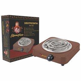 Плиты и варочные панели - Электроплитка матрена ма-060, 1 конфорка, спираль (тэн) 1квт, коричневая, 0