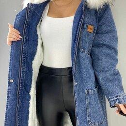 Куртки - Зимняя женская джинсовая куртка р-ры 46-56, 0