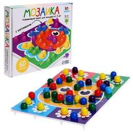 Мозаика - Мозаика круглая, 60 элементов с карточками, 6 цветов, 0
