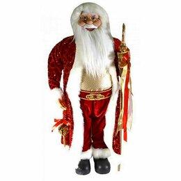 Игровые наборы и фигурки - Дед Мороз с игрушкой и посохом красный костюм, 90см, 0