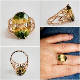 Кольца и перстни - золотое кольцо с цитрином, 18, 0