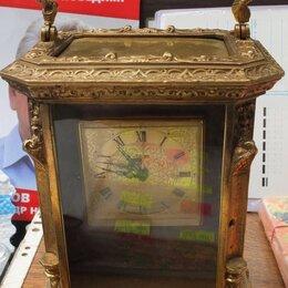 Часы настольные и каминные - часы каминные, бронза, старинные, 0