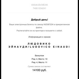 Концерт - 2 билета на концерт ludovico Einaudi , 0