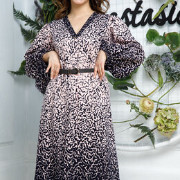 Платья - Платье 558р ANASTASIA синий/пудровый Модель: 558р с ремнем, 0