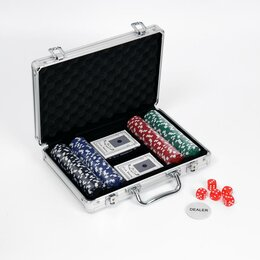 Настольные игры - Покер в кейсе (2 колоды, фишки 200 шт б/н, 5 куб.), 0