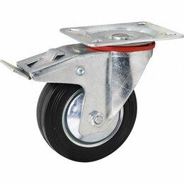 Оборудование для транспортировки - Колесо поворотное с тормозом ф125 мм, крепление платформенное, 0