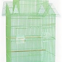 Клетки и домики - N1 Клетка для птиц, 47*36*100, высокая, три домика, укомплектованная., 0