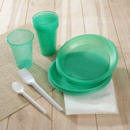 Наборы для пикника - Набор одноразовой посуды «Премиум», 6 персон, цвет МИКС, 0