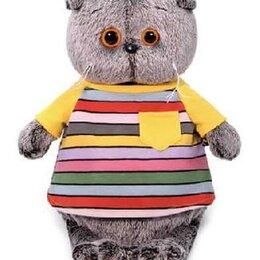 Кошки - Кот Басик в полосатой футболке с карманом 22 см мягкая игрушка, 0