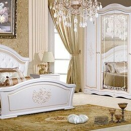 Кровати - Спальня Графиня (белый металлик/золото патина) , 0