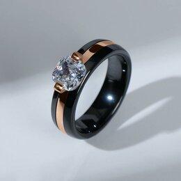 """Свадебные украшения - Кольцо керамика """"Даймонд"""" квадрат, цвет чёрный в золоте, 18 размер, 0"""