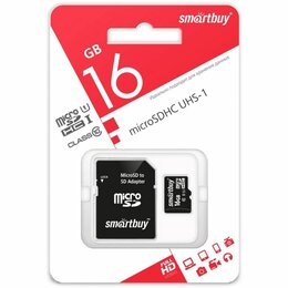 Карты памяти - Карта памяти Micro SDHC 16GB class 10 Smartbuy, 0