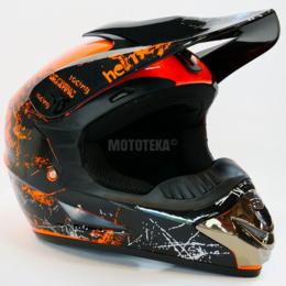 Спортивная защита - Шлем Motax (Мотакс) детский кроссовый глянцево-черный-оранжевый (G5), 0