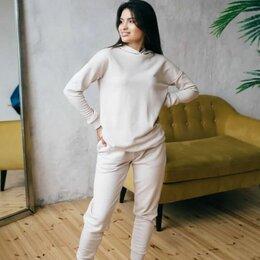 Спортивные костюмы - Костюм худи с капюшоном и брюки (хлопок 3х-нитка) / топленое молоко, 0