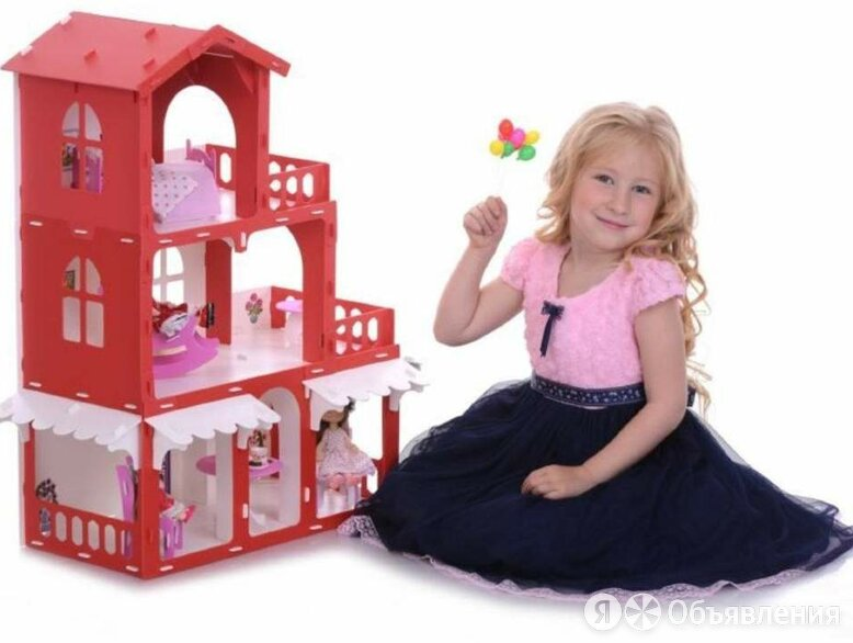 KRASATOYS Домик для кукол Дом Николь бело-красный с мебелью по цене 2490₽ - Игрушечная мебель и бытовая техника, фото 0