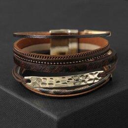 Браслеты - Браслет ассорти 'На магните' Калахари, цвет коричнево-леопардовый в золоте, 1..., 0