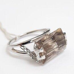 Кольца и перстни - Кольцо из белого золота с раух топазом и брилл, 18,5, 0