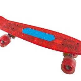 Скейтборды и лонгборды - Скейтборд Navigator красный, пластиковые светящиеся колеса арт.Т20014, 0