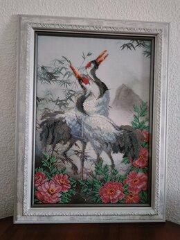"""Картины, постеры, гобелены, панно - Картина бисером """"Красноголовые журавли"""", 0"""