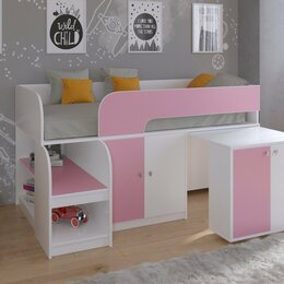 Кровати - 9 цветов! детская кровать-чердак Астра 9/8 белый-розовый, 0