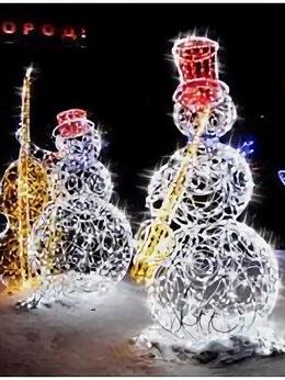 Новогодние фигурки и сувениры - Световая композиция «Снеговик-музыкант» (вар.2), 0