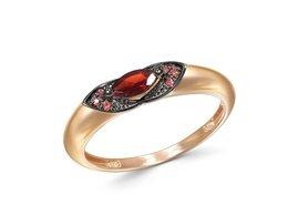 Кольца и перстни - Кольцо с гранатом и 6 фианитами из красного золота, 0