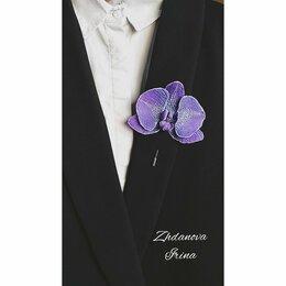 """Рукоделие, поделки и сопутствующие товары - Брошь игла """"Орхидея"""" из полимерной глины , 0"""