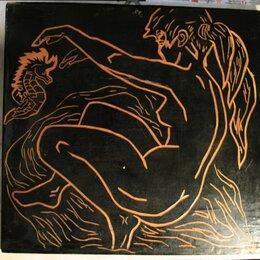 Гравюры, литографии, карты - Картина на деревянной доске черный фон 31*30 см…, 0