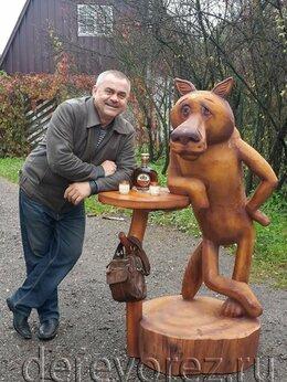 """Садовые фигуры и цветочницы - Скульптура волка со столом из """"Жил был пёс"""", 0"""