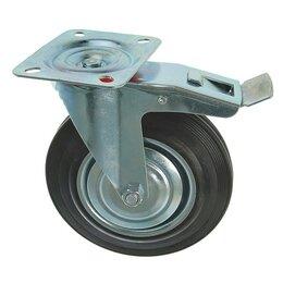 Тележки и тачки - Колесо для транспортных тележек, d=200 мм, на площадке, со стопором, 0