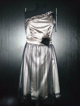 Платья - Серебристое коктейльное платье , 0