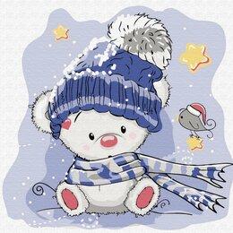 Рукоделие, поделки и товары для них - Картина по номерам Медвежонок зимой (20х20 см), 0